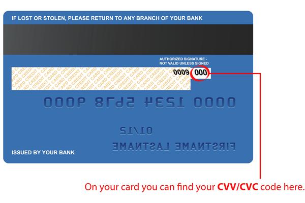 Kode CVC kartu Anda