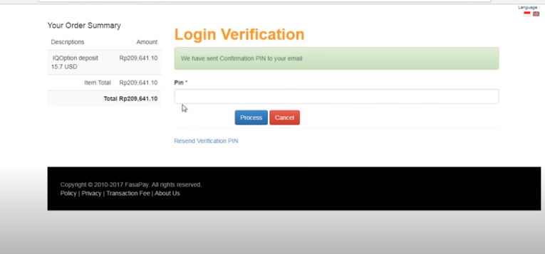 Login dengan Verification Pin